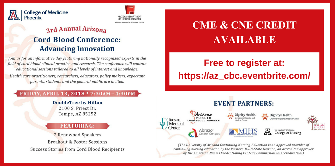 Register Now: Advancing Innovation at the Arizona Cord Blood
